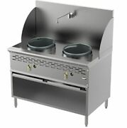 2 Burner 13-13 Commercial Compact Chinese Wok Range With Cabinet - 256000 Btu