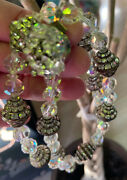 Art Deco Antique Rows Of Channel Set Rhinestone Bicone Beads And Crystal Necklace