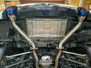 Fit 17-up Q60 Axie Back Muffler Delete 4 Double Wall Dual Burnt Tips Exhaust