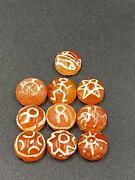 Old Antique Etched Carnelian Beads With Rare Pattern Images