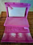 Clinique Travel Case Mesh Makeup Bag And See-through Compartments Tie Dye New