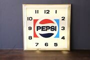 Pepsi Clock Sign Dualite Lighted Vintage Advertising Cola Sign Large Wall Old