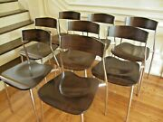 Set Of8 Altek Italia Baba Chair Collection Steel Chrome And Wood By Sergio Mian
