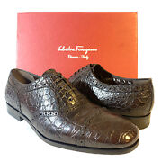 Salvatore Ferragamo Mens Pistoia Crocodile Oxford Dress Shoes Brown Msrp 2945