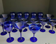Lot Of 20 Pier 1 Cobalt Blue Glasses Plus Glass Identifiers Charms Free Shipping