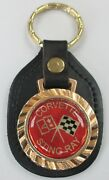 Vintage Red Corvette Sting Ray Royal Classic Leather Gold Tone Key Ring 5262