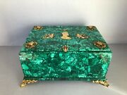 Vintage Large Natural Malachite Box In Russian Empire Style With Gilded Bronze