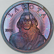 2008 Lakota Tribe Indian Crazy Horse 1oz Silver Coin Bu Toned Monster Colored