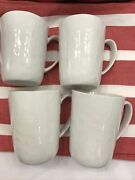4 Crate And Barrel White Mercer Mugs Cups Made In China Lot Of 4