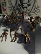 Vintage Marx 1960s Gold Mounted And Standing Knights Plastic Toy Figure Lot Of 10