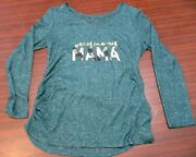 New Aglow Maternity Long Sleeve Shirt Size Large Very Merry Mama Christmas