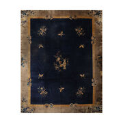 10and0392 X 12and0395 Hand Knotted Vintage 100 Wool Chinese Art Deco Oriental Area Rug