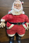 Vintage 1950's Santa Claus Plush Doll Toy Rubber Face, Hands And Boots Large 25