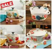 Vintage Floral 3-quart Cast Iron Casserole Cookware Safe On Stovetopsoven Grill