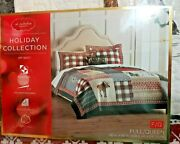 St Nicholas Square Joy Full/queen Size Quilt Reversible To Gray Red Plaid Nwt