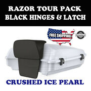 Us Stock Crushed Ice Pearl Razor Tour Pack Black Hinges Latch Fit 97-20 Harley