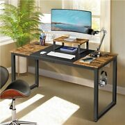 55 Computer Desk With Monitor Stand And Splice Board Home Office Gaming Desk
