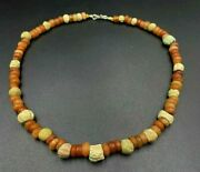 Old Bead Ancient Egyptian Roman Jewelry Antiquities Ceramic Glass Agate Necklace