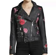 New Bagatelle Faux Leather Floral Embroidered Applique Moto Jacket Womens Small