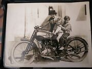 Harley Davidson 1910s Motorcycle Photo Children Indian Early Old Rare