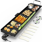 Electric Teppanyaki Table Top Grill Griddle Barbecue Bbq Nonstick Outdoor Indoor