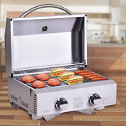 2 Burner Portable Stainless Steel Bbq Grill Table Top Propane Gas Outdoor Camp