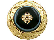 Antique Victorian Agate And Pearl 18k Yellow Gold Brooch/locket