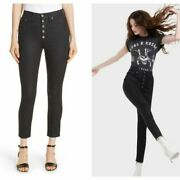 Ao.la Alice + Olivia Good High Rise Exposed Button Skinny Jeans Black Cosmos 30