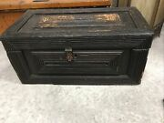 Early Antique Primitive Folk Art Trunk Tool Box Wooden Great Patina And Detail