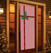Holiday Time Tinsel Door Cover Panel Stripe W Holly Ribbon Christmas Decoration