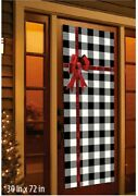 Holiday Time Tinsel Door Cover Panel Plaid W Red Ribbon Bow Christmas Decor