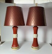 Vintage Aladdin Alacite Glass Pair Electric Table Lamps Shades Finials