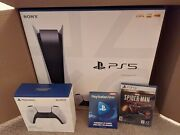 Sony Playstation 5 Console Ps5 In Hand - Disc Bundle W/ Spider Man And Controller