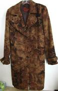 Etro Milano Italy Abstract Floral Print Belted Trench Coat Browns Sz 46 Rt 3795