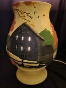 Ceramic Table Lamp With Hand Painted Farm Land Scene Decor 11 Tall