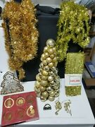 Gold Lovers Mini X-mas Trees W/ Candy Holder And Ornaments Set Of 14 Pieces