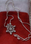 New 925 Sterling Silver Christmas Necklace With 925 Silver Box Chain Snowflakeandnbsp
