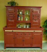 Jumbo Pine Hoosier Cabinet, Usa Made Antique Reproduction, Red And Honey Finish
