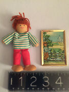 Vintage Wooden Doll House Doll And Hand Painted Detailed European Mini Painting