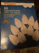 Christmas Lights 24ft Indoor Outdoor 50ct Led C9 Warm White Twinkling New