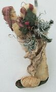 Primitive Christmas Stocking/sock Grungy Wall/door Hanging W Snowman Candy Cane