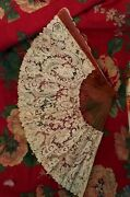 Fine Antique French Fan, Brussels Lace, Horn Frame, Exquisite, Large,bride