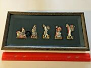 Five Vintage Mexican Paper Mache Cloth Clay Folk Art Figurines In Shadowbox