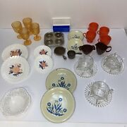 Vintage 1960's Plastic Toy And Metal Toy Dish Tableware Plates Cups Glasses Pans