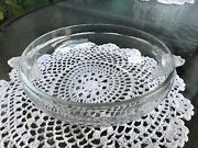 Vtg Unsigned Lalique-style Crystal Accent Bowl W/double Frosted Rosebud Handles