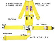 Rjs Racing Sfi 16.1 5pt Latch And Link Harness Belt Roll Mount Bar Yellow 1128606