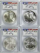 Lot Of 4 - Silver American Eagles 1 Pcgs Ms69 Different Dates Moy Signature