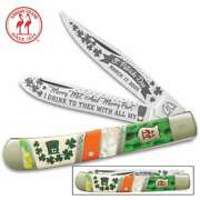 Kissing Crane 2020 St. Patrickandrsquos Day Trapper Knife - Stainless Blades New Kc5707