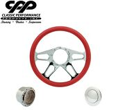 New Cpp Tracker Chrome Billet 14 Steering Wheel Red Leather 1/2 Wrap Hub Horn