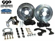 Ford 9 Rear Disc Brake Conversion Kit 12 5x5.5 Drilled Rotors Black Calipers